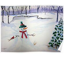 Snowman and Cardinal Poster