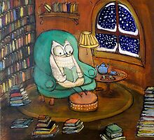 Snowy Owl (would rather be reading...) by Johanna Wright