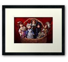 Toy - Dolls - A basket of Victorian dolls  Framed Print