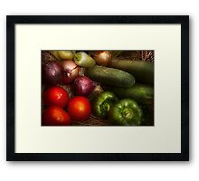 Food - Vegetables - Onions, Tomatoes, Peppers, and Cucumbers  Framed Print