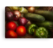 Food - Vegetables - Onions, Tomatoes, Peppers, and Cucumbers  Canvas Print