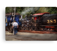 Train - Steam - The conductors job  Canvas Print