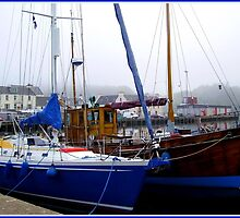 Blue Boat in Stornoway Marina by kathrynsgallery