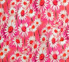 Daisy Floral Pink iPhone Case by purplesensation