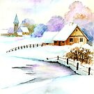 A Beautiful Winter Day - Aquarel by RainbowArt