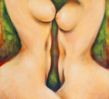 Two nudes in the garden by MelleVaroy