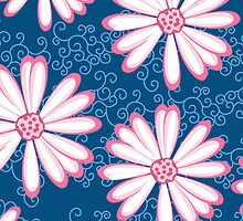 Hot Pink, Navy Blue and White Daisy Flower Design by rozine