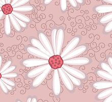 Soft Pastel Pink Daisy Flower Tribal Tattoo Design by rozine