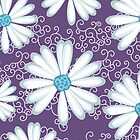Sweet Purple and Turquoise Daisy Flower Pattern by rozine