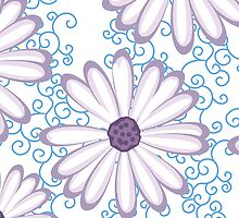 Blueberry Violet and White Daisy Flower Pattern  by rozine