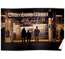 J Train Arrives at Chambers Street Poster