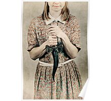 Female holding a curved knife Poster