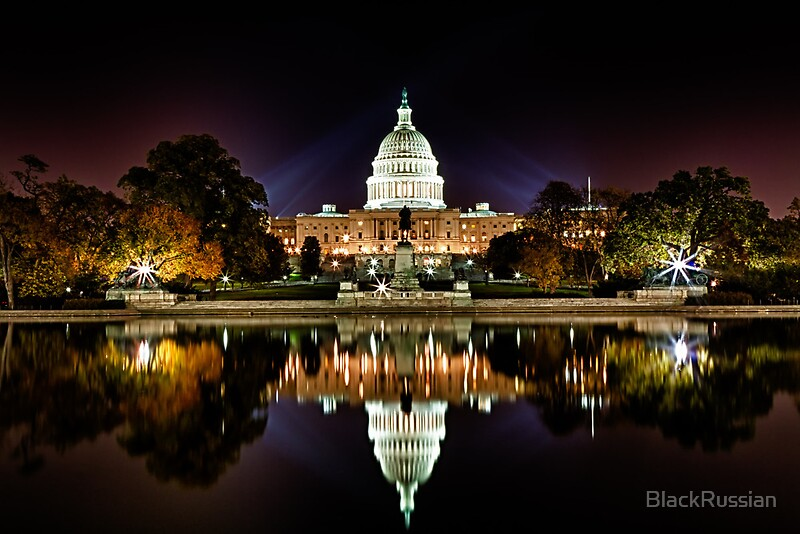 Quot Us Capitol Building At Night Quot By Blackrussian Redbubble