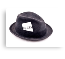 A photojournalist fedora hat with press card Canvas Print
