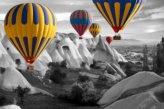 Hot Air Balloons Over Capadoccia Turkey - 3 by Paul Williams