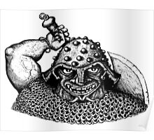 Fantasy Viking black and white pen ink drawing Poster