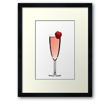 Red champagne drink with Strawberry Framed Print