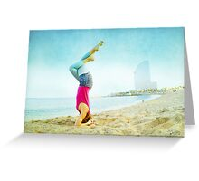 Yoga in the beach, Barcelona Greeting Card