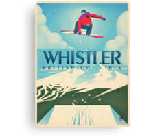 """""""Snowboard Booter"""" Whistler, BC Travel Poster Canvas Print"""