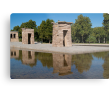 Egyptian temple in Madrid is reflected in surrounding transparent water Metal Print