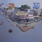 VARIETY SQUARE, NAGPUR.. acrylic on canvas  by biswaal