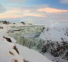 Golden Waterfall - Gullfoss by Llewellyn Cass