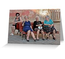 Joining The Ladies At The Gossip Spot Greeting Card