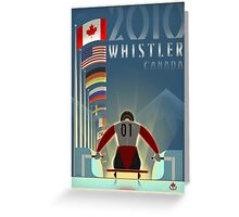 """""""Olympic Luge"""" Whistler, BC Travel Poster Greeting Card"""