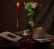 Red Candle and Christmas Cards by FrankSchmidt
