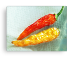Red & Yellow Chilis Canvas Print