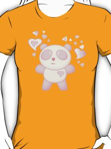 Pink Panda Bear Cartoon with Love Hearts T-Shirt