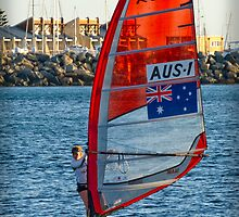 Australian Sailboarder at Bathers Beach by Darren Speedie