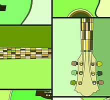 Modern Pop Art Acoustic Guitar in Greens by ArtformDesigns