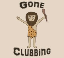 Gone Clubbing Funny Caveman Cartoon Design by ArtformDesigns