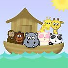 Noah's Ark with Cute Cartoon Animals by ArtformDesigns