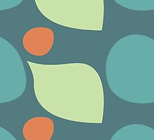 Terra Cotta Orange and Teal Retro Polka Dot Shape Pattern by rozine
