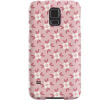 Hot Pink and White Retro Wallpaper Flower Pattern Samsung Galaxy Case/Skin