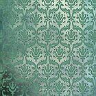 Vintage Damask Pattern in Muted Greens by ArtformDesigns