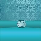Vintage Damask Pattern in Teal with Ribbon and Pale Sapphire Gem by ArtformDesigns