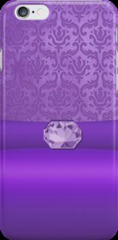 Vintage Damask Pattern in Purple with Ribbon and Amethyst Gem by ArtformDesigns