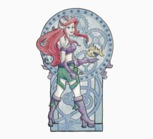 Steampunk Ariel Nouveau Sticker by Karen  Hallion