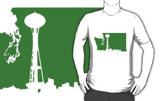 Ode to Washington State White Silhouette by QuietRebel