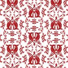 White + Red Russian Patterns by Mariya Olshevska