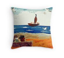 3 girls watching the activity, watercolor Throw Pillow