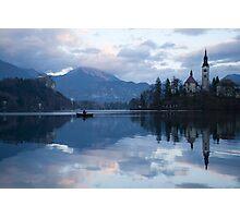 Dusk over Lake Bled Photographic Print