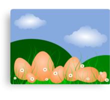 Easter Egg Landscape, blue sky and clouds Canvas Print