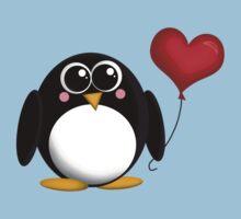 Adorable Penguin Heart Balloon Kids Clothes