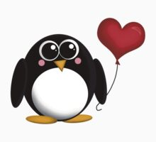 Adorable Penguin Heart Balloon Kids Clothes