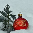 New Year's toy a red ball with mini fur-tree  by Anton Oparin