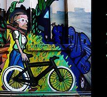 Images of Brunswick #6 Street Art - Woman on Bike by Sharon McDowall